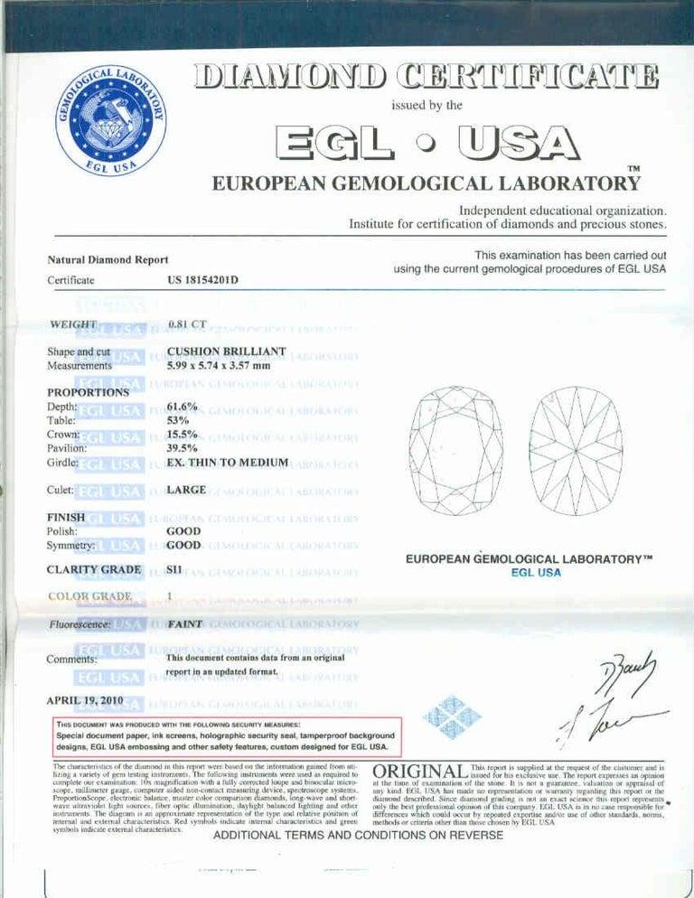 .81 Carat Diamond Cushion Cut Art Deco Platinum Engagement Ring For Sale 1