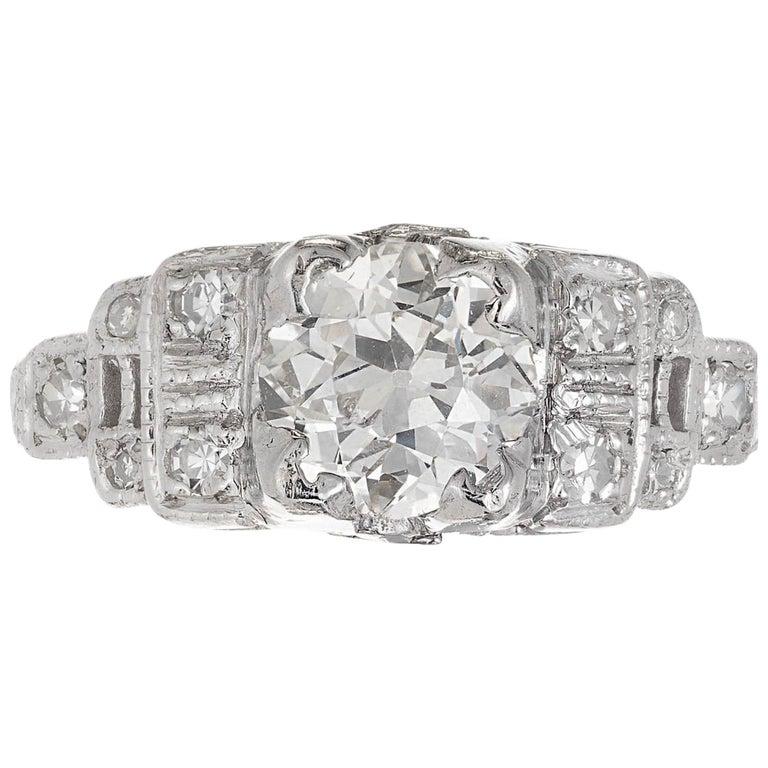 .81 Carat Diamond Cushion Cut Art Deco Platinum Engagement Ring For Sale