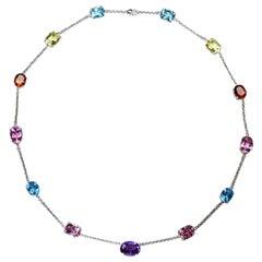 81 Carat Kunzite Topaz Amethyst Citrine Gemstone Necklace Fine Estate Jewelry