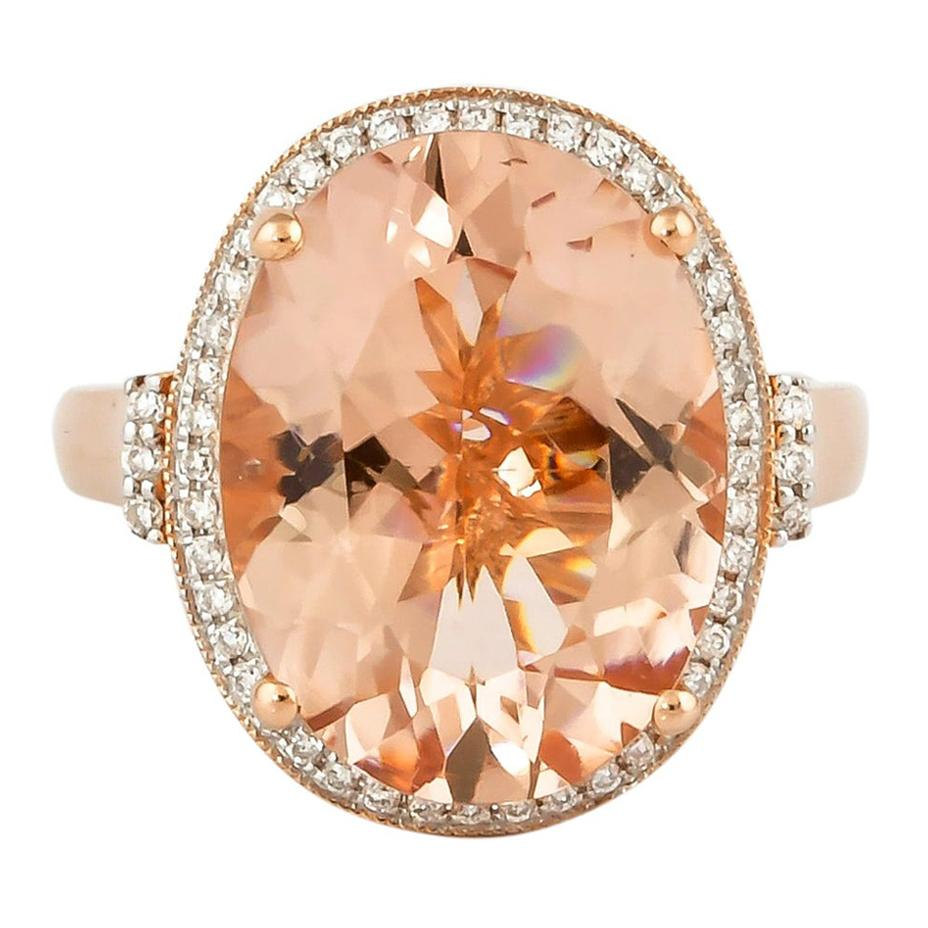 8.1 Carat Morganite and Diamond Ring in 18 Karat Rose Gold
