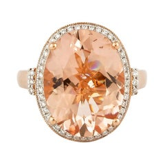 8.1 Carat Morganite and Diamond Ring in 18 Karat Rose Gold