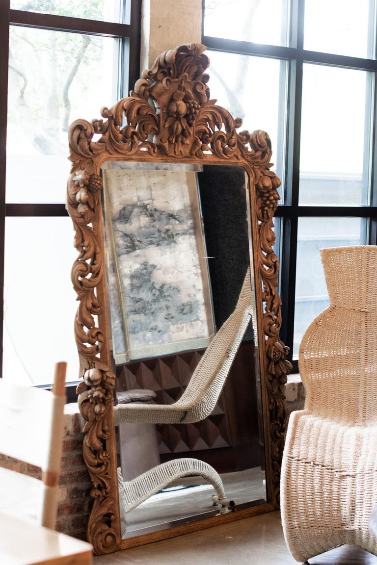 French Carved Oak Mirror, France, 1880 For Sale