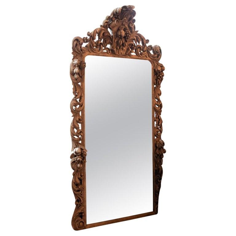 Carved Oak Mirror, France, 1880 For Sale