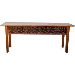 Console Table with Old Sumatran House Carving, Single Plank Teak Top, 1990s