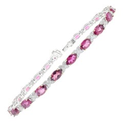 8.10 Carat Oval Rubellite Tourmaline Diamond Bracelet in 18 Karat White Gold