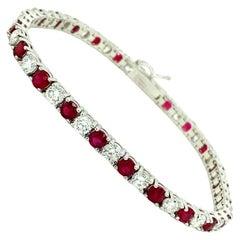 8.10 Ct Ruby & Diamond Tennis Bracelet 14kt White Gold