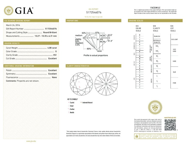 8.11 Carat G VS1 GIA Certified Round Brilliant Diamond Stud Earrings For Sale 1