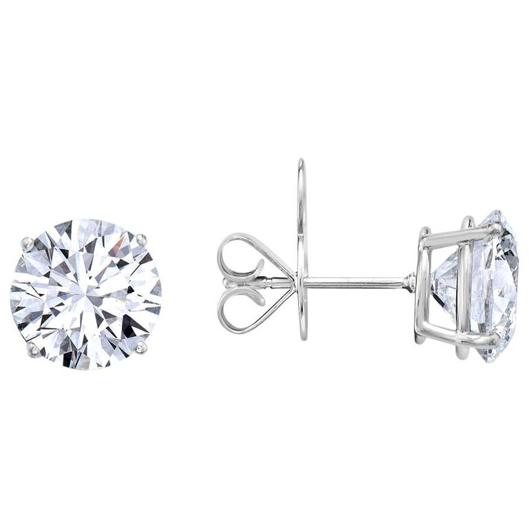 8.11 Carat G VS1 GIA Certified Round Brilliant Diamond Stud Earrings For Sale