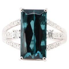 8.11 Carat Indicolite Tourmaline and Diamond Cocktail Ring Set in Platinum