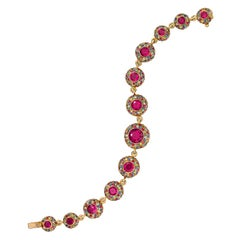 8.11 Carat Multi-Sapphire, 9.20 Carat Rubellite and Diamond Bracelet