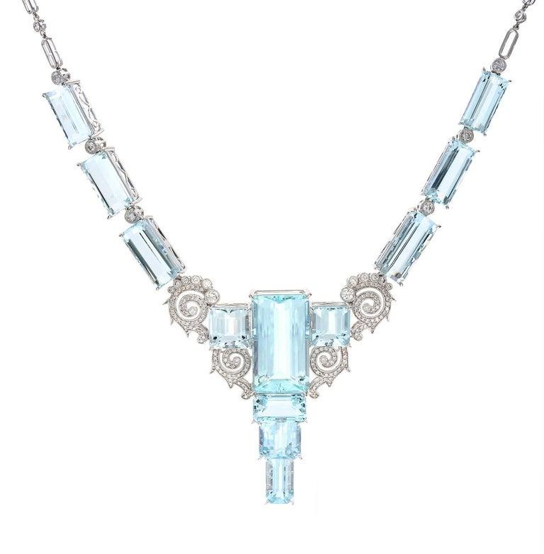 81.13 Carat Aquamarine Diamond Necklace 18 Carat White Gold Art Deco Style