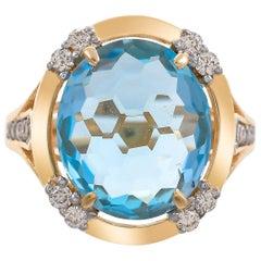 8.12 Carat Blue Topaz and Diamond 18 Karat Yellow Gold Ring