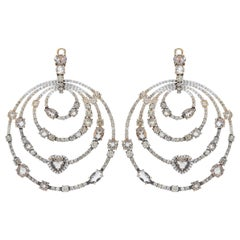 8.12 Carat White GVS and Brown Diamonds Smoky Quartz Pink Gold Round Earrings