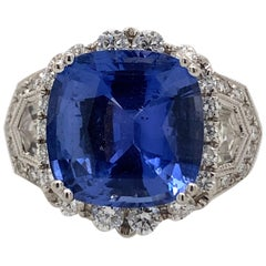8.13 Carat Sapphire with Diamond Ring 18 Karat White Gold