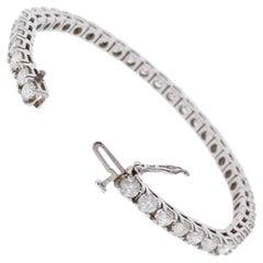 8.13 Carat Total Round Diamond 4 Prong Tennis Bracelet in 14 Karat White Gold