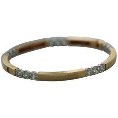 8.13 Carat White Asscher Cut Diamond Bangle in 18 Karat Yellow Gold