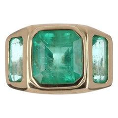 8.13tcw 14K Gypsy Three Stone Colombian Emerald, Emerald Cut Bezel Set Ring