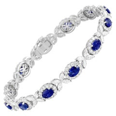 8.14 Carat Oval Cut Vivid Blue Sapphire and 6.95 Carat Diamond Bracelet