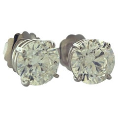 8.14 Total Carat Weight Round Brilliant Diamond Stud Earrings in White Gold
