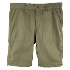8.15 AUGUST FIFTEENTH Size 32 Olive Solid Cotton Patch Pocket Shorts