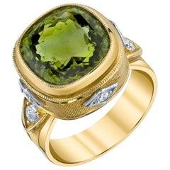 8.15 Carat Peridot Cushion, Diamond, Yellow and White Gold Bezel Signet Ring