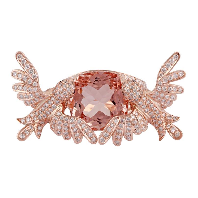 8.15 Carat Morganite Diamond Cocktail Ring, Set in 18 Karat Rose Gold