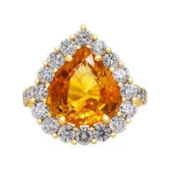 8.15 Carat Pear Shape Orange Sapphire 18 Karat Yellow Gold Diamond Cocktail Ring