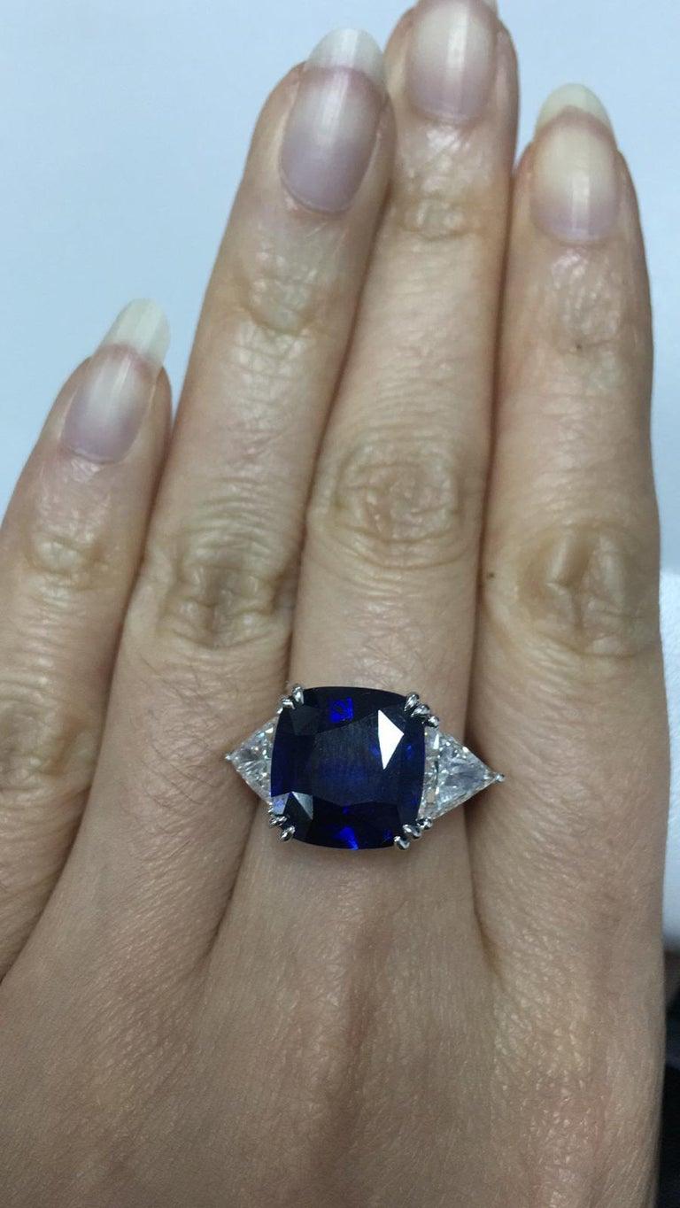 Cushion Cut 8.15 Carat Royal Blue Sapphire GRS Certified Unheated Diamond Ceylon Ring  For Sale