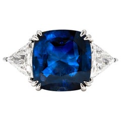 8.15 Natural Non Heated Sapphire and Natural Certified Diamond Ring, Cushion Cut