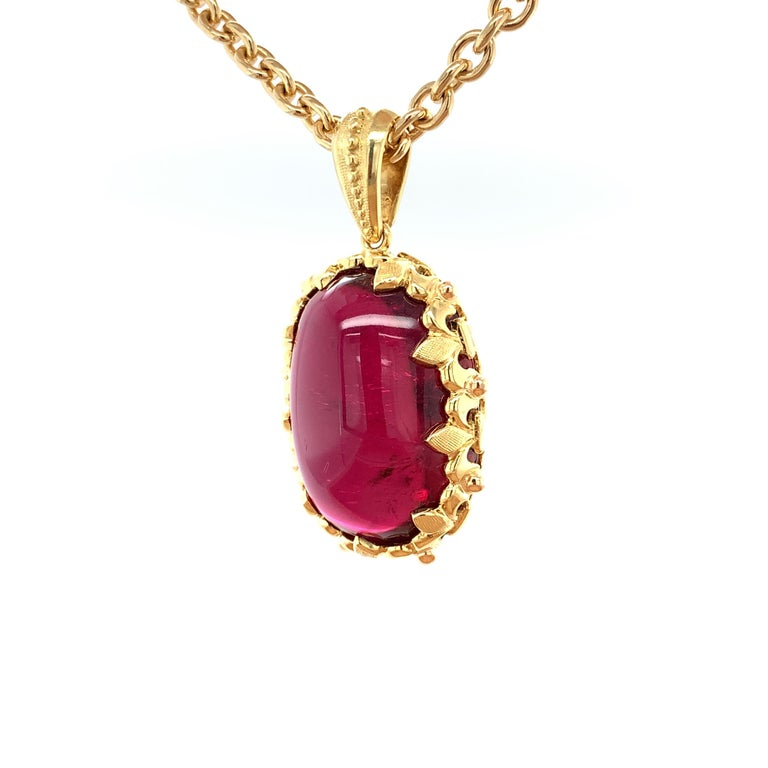 81.59 Carat Rubellite Cabochon Oval Handmade Yellow Gold Drop Pendant For Sale 1