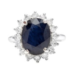 8.15ct Natural Blue Sapphire & Diamond 14k Solid White Gold Ring