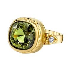 8.16 Carat Chrysoberyl Cushion and Diamond Handmade Yellow Gold Bezel Ring