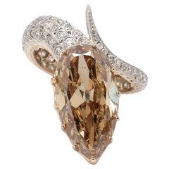 8.16 Carat Fancy Brown, Pear Shaped Diamond Ring