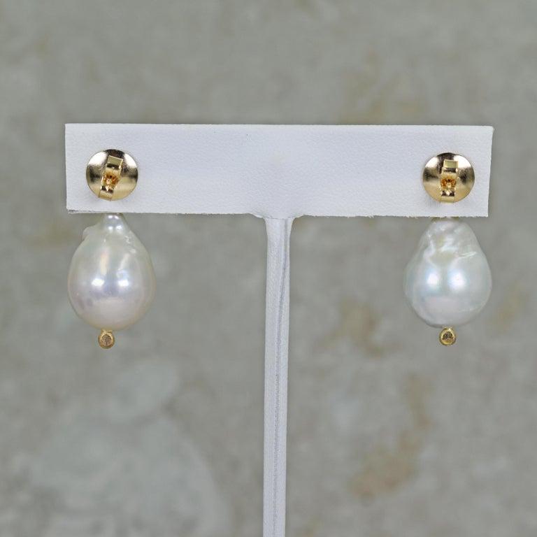 Emerald Cut 8.16 Carat London Blue Topaz Freshwater Baroque Pearl Drop Stud Earrings