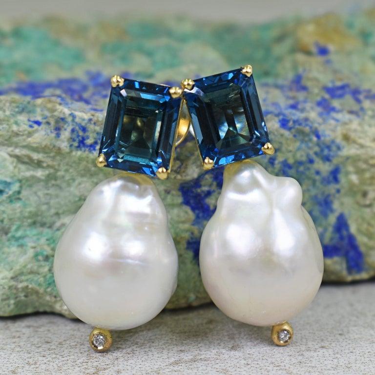 8.16 Carat London Blue Topaz Freshwater Baroque Pearl Drop Stud Earrings In New Condition In Naples, FL