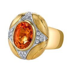 8.16 Carat Spessartite Mandarin Garnet, Diamond 18k Yellow, White Gold Dome Ring