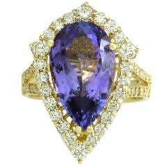 8.16 Carat Tanzanite 18 Karat Yellow Gold Diamond Ring