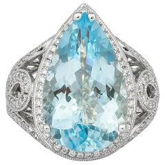 8.17 Carat Aquamarine and Diamond Ring in 18 Karat White Gold