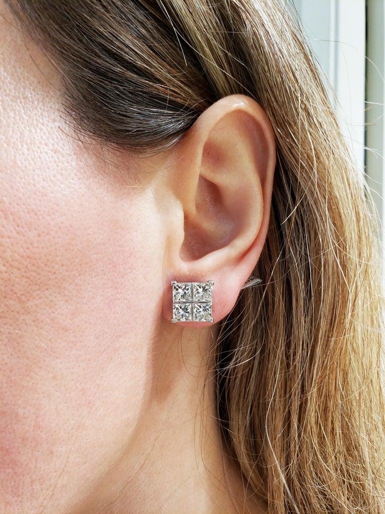 Modern 8.17 Carat Princess Cut Diamond White Gold Cluster Earrings For Sale