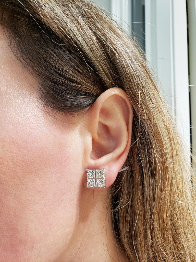 8.17 Carat Princess Cut Diamond White Gold Cluster Earrings In New Condition For Sale In New York, NY