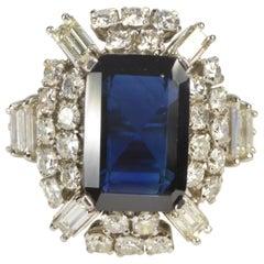 8.17 Carat Sapphire Diamond Ring