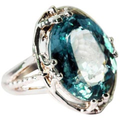 8.18 Carat Aquamarine Sterling Silver Ring