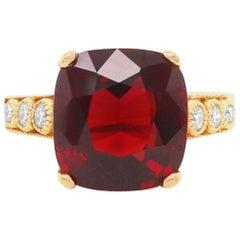 8.18 Carat Cushion Cut Rhodolite Garnet Ring with Diamonds 14 Karat Yellow Gold