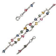 8.18 Carat Multi Gemstones and 0.66 Carat Diamonds 18 Karat White Gold Bracelet