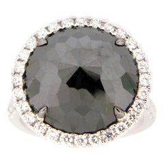 8.19 Carat Rose Cut Black and White Diamond Cocktail Ring