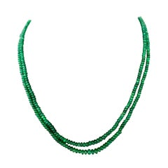 82 Carat 2 Layer Natural Brazilian Emerald Bead Necklace Sterling Silver Clasp