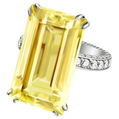 8.2 Carat Delicate Yellow Natural Beryl Diamonds 14 Karat White Gold Ring