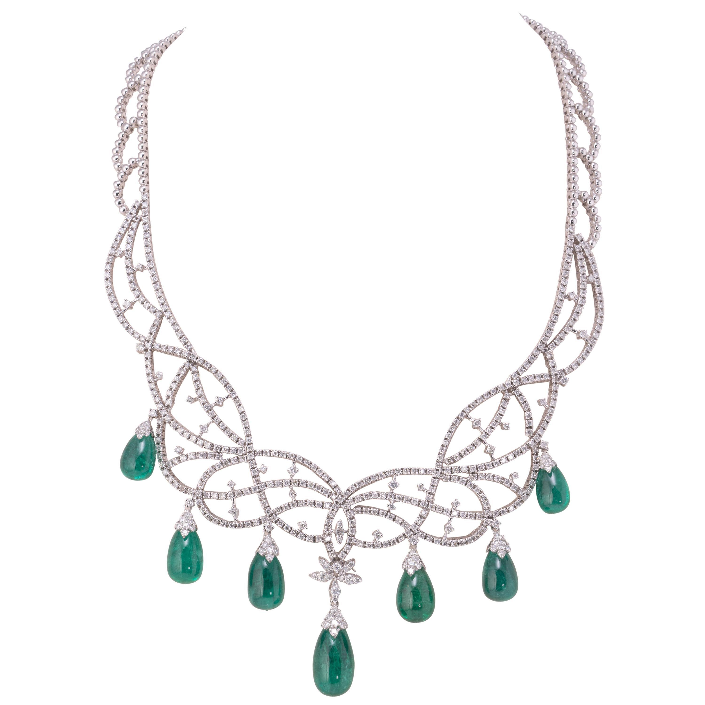 82 Carat Emerald Drops and Diamond 18 Karat Gold Necklace
