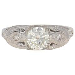 .82 Carat European Cut Diamond Art Deco Ring, 18 Karat White Gold Vintage