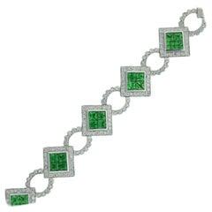 8.2 Carat Green Tsavorite and Diamond Bracelet